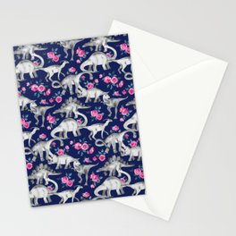 Dinosaurs and Roses on Dark Blue Purple Stationery Cards