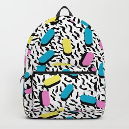 Poppin - memphis throwback retro 1980s 80s style classic trendy hipster pattern bright neon dorm Backpack
