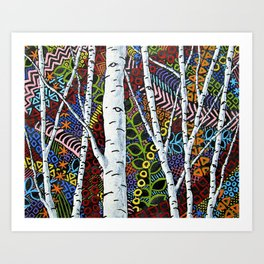 Sunset Sherbert Birch Forest (ORIGINAL ACRYLIC PAINTING) by Mike Kraus - art valentines day girl Art Print