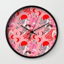 Unicorns at Sunset Pattern Wall Clock