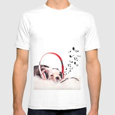 Musical Dog Mens Fitted Tee MEDIUM White