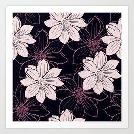 Black and pink autumn dahlia flowers Art Print