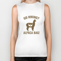 hiking Biker Tanks featuring Go Hiking? Alpaca Bag! by AmazingVision