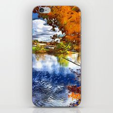 Romantic Fall River Town Nature View iPhone & iPod Skin