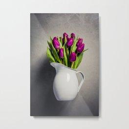 Levitating purple tulips against old concrete background Metal Print