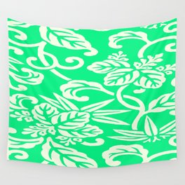 Green Japanese Floral Pattern Wall Tapestry