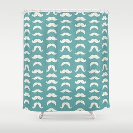 Hipster Moustache Pattern - Teal Blue Shower Curtain