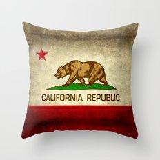 California Republic Retro Flag Throw Pillow