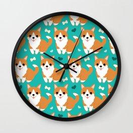 Cute corgi illustration on turquoise background pattern Wall Clock