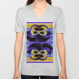 Western Style Double Purple & Gold Pansy Unisex V-Neck