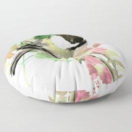 Chickadee and spring blossom Floor Pillow