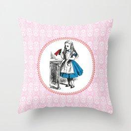 Alice in Wonderland   Drink Me Bottle   Pink Damask Pattern   Throw Pillow