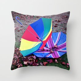 She came in with the Autumn wind Throw Pillow