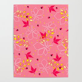 Chestnut Acorns Gold and Pink Leaves Poster