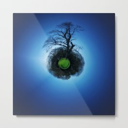 Tiny Planet 1 - Floating in the Big Blue Metal Print