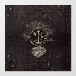 Vegvisir  and Tree of life  -Yggdrasil Canvas Print