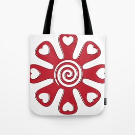 isolated fabric red flower with hearts on leaf  Tote Bag