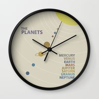 solar system Wall Clocks featuring Solar System by avoid peril