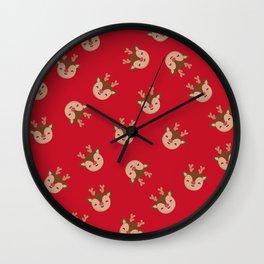 Red Rudolf Reindeer Wall Clock