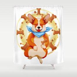 Zen corgi Shower Curtain