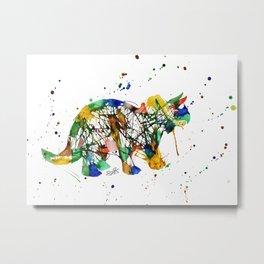 Rainbow Splatter Triceratops Dinosaur Metal Print