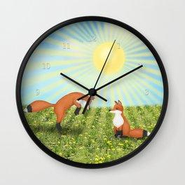 sunshine fox fun Wall Clock