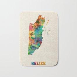 Belize Watercolor Map Bath Mat