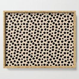 Irregular Small Polka Dots black Serving Tray