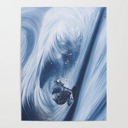 'Snowboarding Blue Blower' Poster