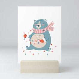 Cute Christmas Bear Mini Art Print