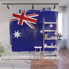 Australian Distressed Halftone Denim Flag Wall Mural