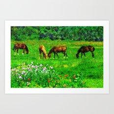 Landscape with horses Art Print