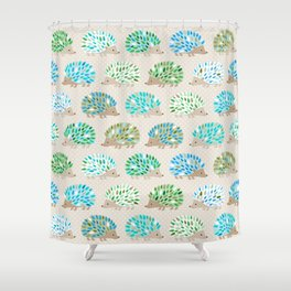 Hedgehog polkadot in green and blue Shower Curtain