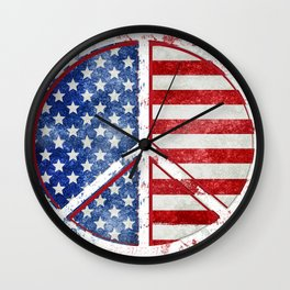 Watercolor Patriot Peace Symbol Stars and Stripes USA Flag Wall Clock