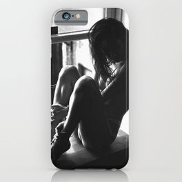 On Earth We're Briefly Gorgeous - female figurative black and white portrait photograph - photography   iPhone Case