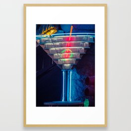 Neon Martini Glass Framed Art Print