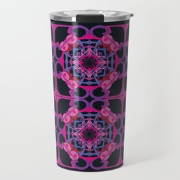 World Citizen Mandala Tiled - Fuchsia Black Travel Mug