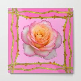 ROSE & RAMBLING THORNY CANES PINK BORDER PATTERNS Metal Print