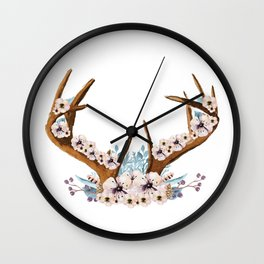The Stag Fall Florals Wall Clock