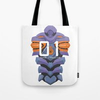 evangelion Tote Bags featuring EVANGELION ANIMA UNIT 01 BACK by F4LLEN_LEAF