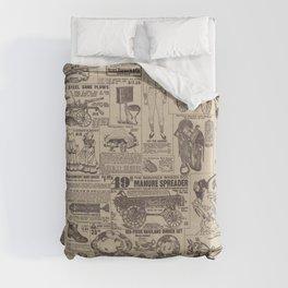 vintage newspaper Duvet Cover