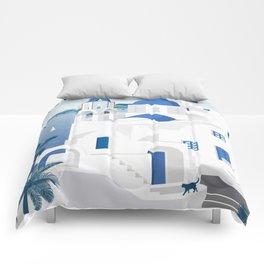 Vintage Santorini poster Comforters
