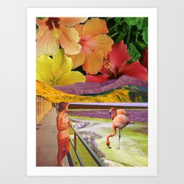 Flowers and flamingos Art Print