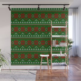 Knitted Christmas pattern red green 3 Wall Mural
