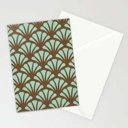 Brown and Mint Green Deco Fan Stationery Cards