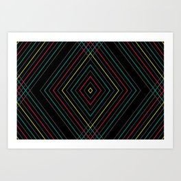 Neon Diamond Pattern Art Print
