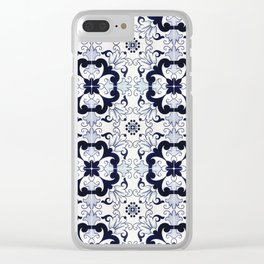 Portuguese Tiles Azulejos Blue and White Pattern Clear iPhone Case