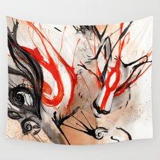 Okami Amaterasu Ink Wall Tapestry
