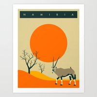 travel poster Art Prints featuring NAMIBIA Travel Poster by Jazzberry Blue