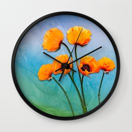Oriental Poppies Wall Clock